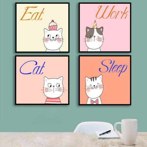 Bộ tranh canvas Mèo con