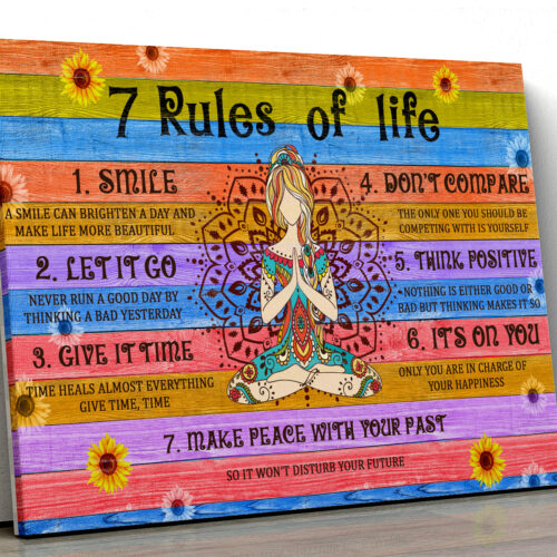 7 RULES OF LIFE Canvas art, beautiful quotes for happy life 5