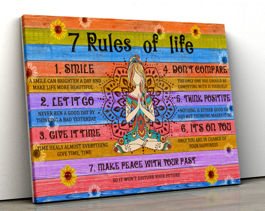 7 RULES OF LIFE Canvas art, beautiful quotes for happy life 2