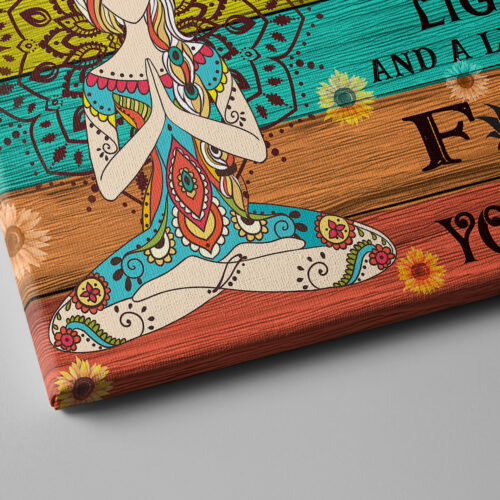yoga buddha canvas art, i'm mostly peace love and light and go FK yourself 7