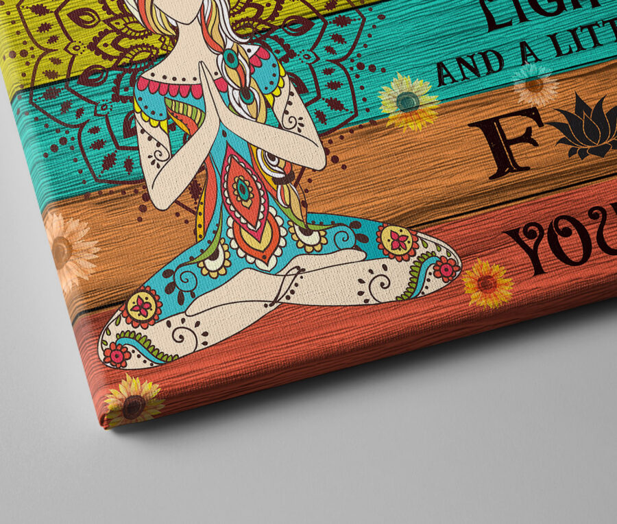 yoga buddha canvas art, i'm mostly peace love and light and go FK yourself 3