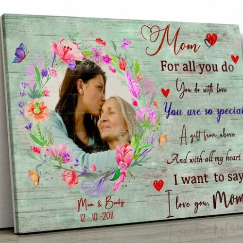 personalized canvas art for mother. A Daughter gift for mom, son gift, canvas family, Love my Mom 9