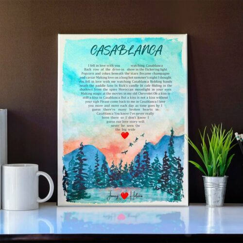 Personalized heart shape Lyrics song portrail canvas art, your loved song in canvas 4
