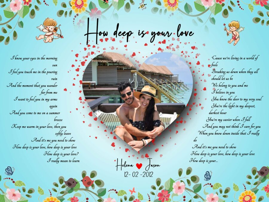 Customized personalized Beautiful lyrics song with your pictures and names 1