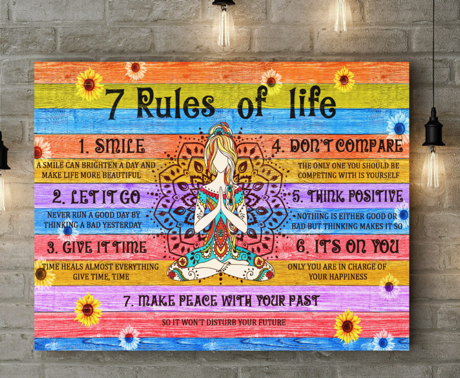 7 RULES OF LIFE Canvas art, beautiful quotes for happy life 4