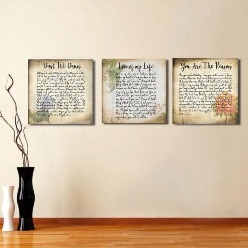 Lyrics song canvas art, 3 pieces of canvas art lyrics vintage 11