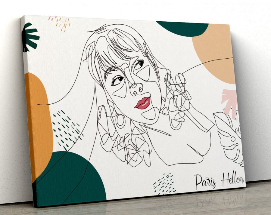 Custom line art abstract with your picture and your name, personalized portrait art 1