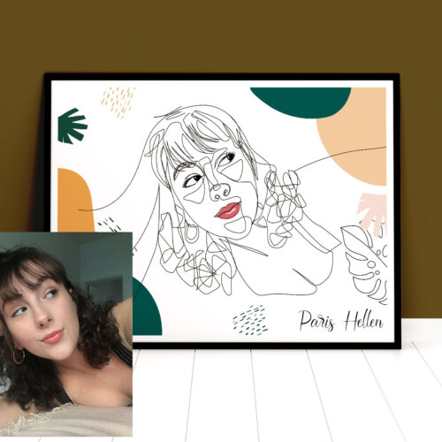 Custom line art abstract with your picture and your name, personalized portrait art 9