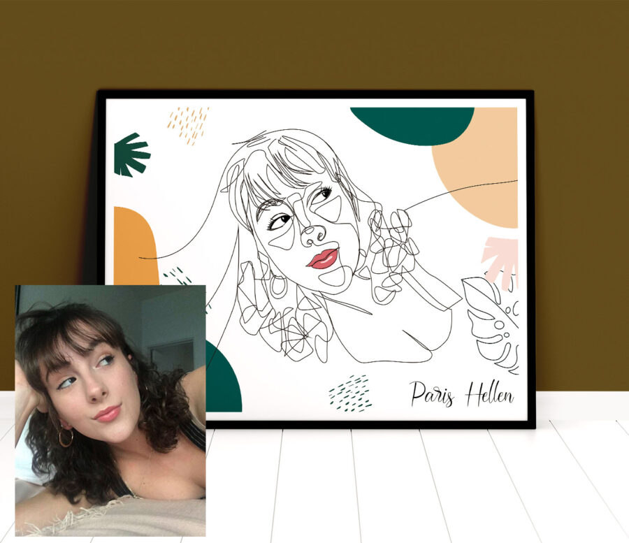 Custom line art abstract with your picture and your name, personalized portrait art 5