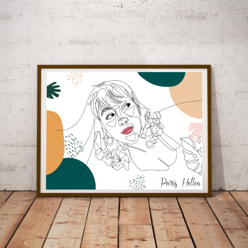 Custom line art abstract with your picture and your name, personalized portrait art 7