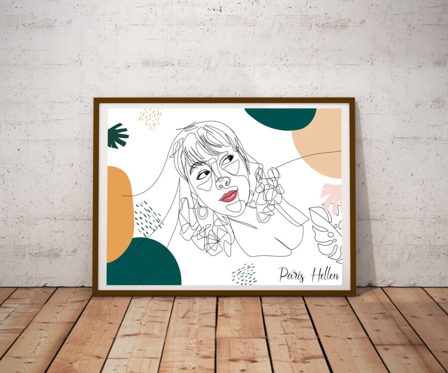 Custom line art abstract with your picture and your name, personalized portrait art 3
