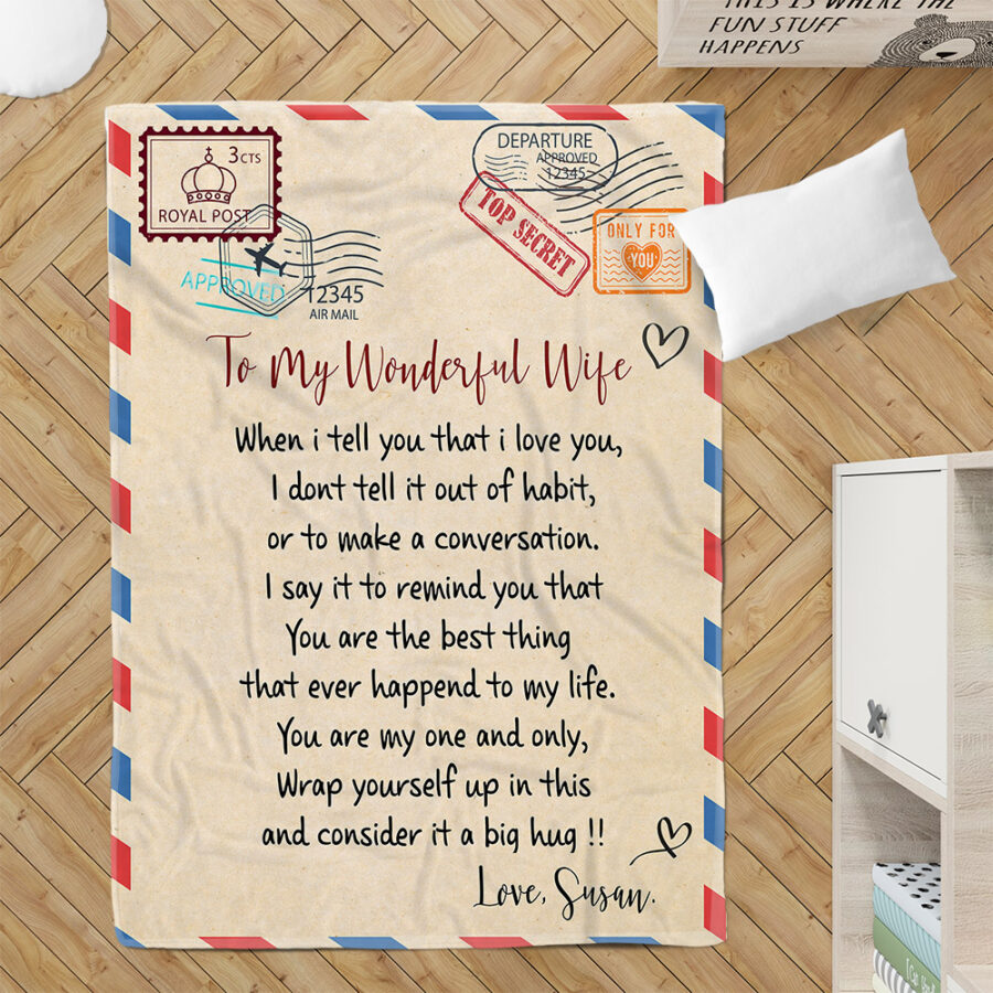 To my wonderful wife blanket, love message to my wife, personalized love gift, custom blanket 2