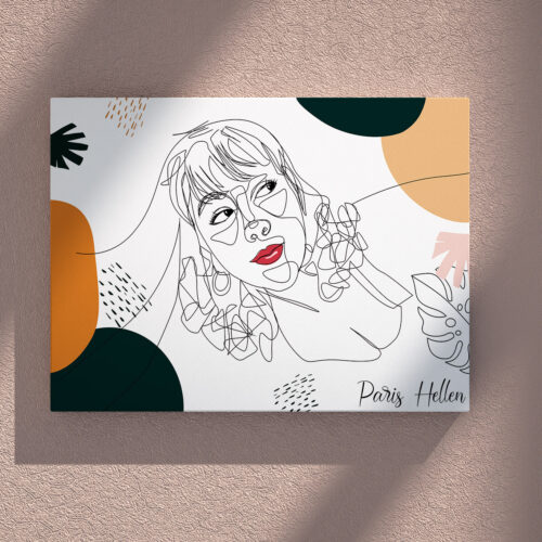 Custom line art abstract with your picture and your name, personalized portrait art 6