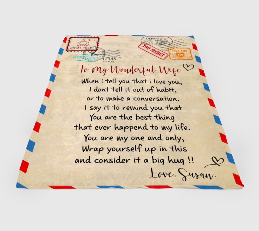 To my wonderful wife blanket, love message to my wife, personalized love gift, custom blanket 4
