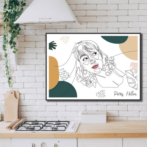 Custom line art abstract with your picture and your name, personalized portrait art 8